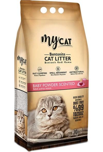 My Cat İnce Taneli Topaklanan Bentonit Kedi Kumu Bebek Pudrası Kokulu 10 l