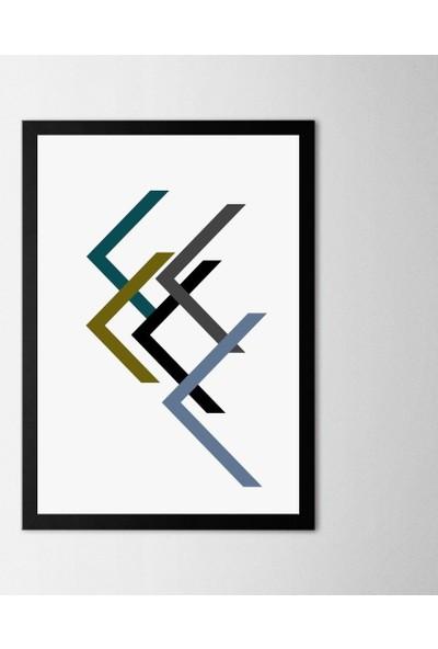 Polnıght Symmetry Directional Triangles Çerçeveli Poster