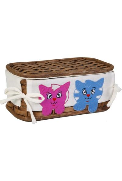 Kanca Ev Hasır Kapaklı Sepet Pembe-Mavi Ayıcıklı Mat Kahve Küçük Boy