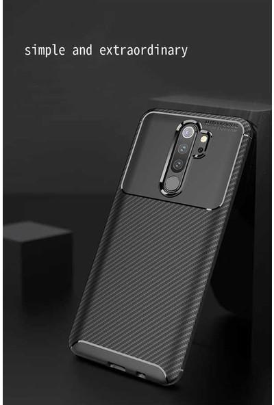 Case 4U Xiaomi Redmi Note 8 Pro Kılıf Karbon Desenli Sert Silikon Arka Kapak Negro Siyah