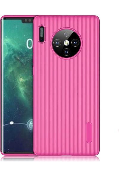 Case 4U Huawei Mate 30 Pro Kılıf Mat Silikon Çizgili Tio Arka Kapak Koyu Pembe