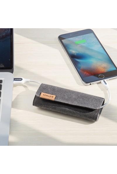 Anker PowerLine+ Lightning 0.9 Metre Örgülü Apple Lisanslı iPhone iPad Kablo - Beyaz - Taşıma Çantalı - A8121