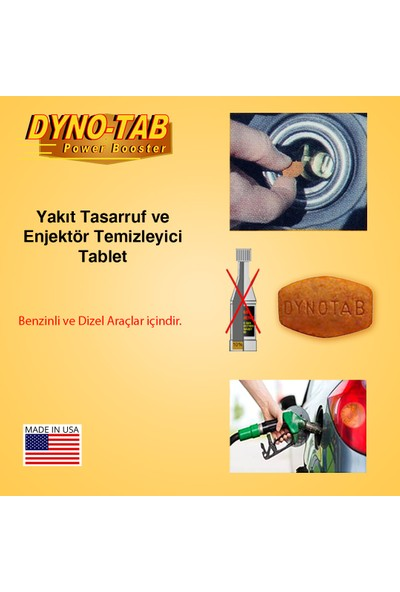 Dyno Tab Benzin & Dizel Yakıt Tasarruf ve Enjektör Temizleyici (2 depoluk) Made in USA