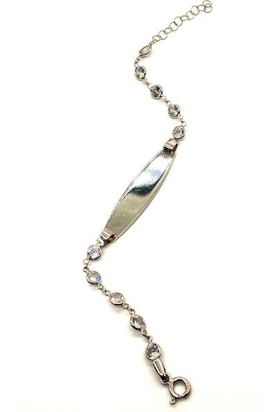 Takı Mağaza 925 Ayar Katlama Zirkon Çocuk Gümüş Bileklik