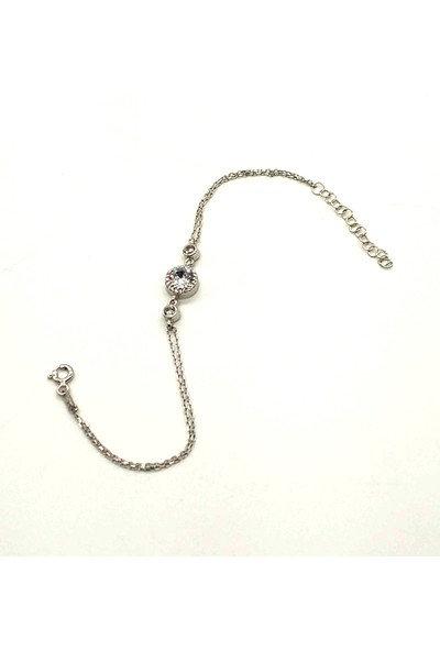 Takı Mağaza 925 Ayar Tektaş Zincirli Gümüş Bileklik