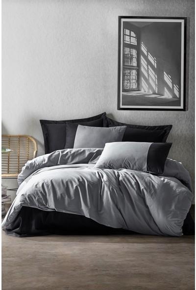 Cotton Box New Plain Ranforce Tek Kişilik Nevresim Takimi Gri Siyah