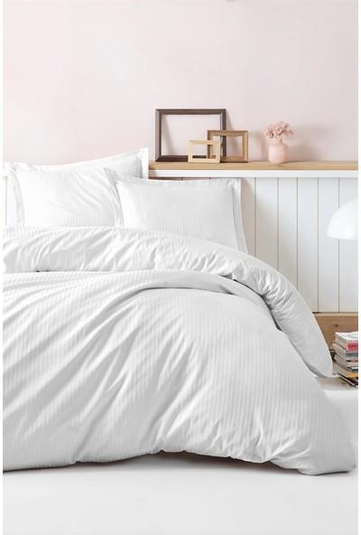 Cotton Box Elegant Stripe Saten Çift Kişilik Nevresim Takımı Beyaz