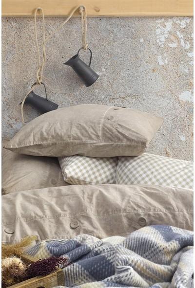 Cotton Box Denim Battaniyeli Çift Kişilik Nevresim Takimi Bej
