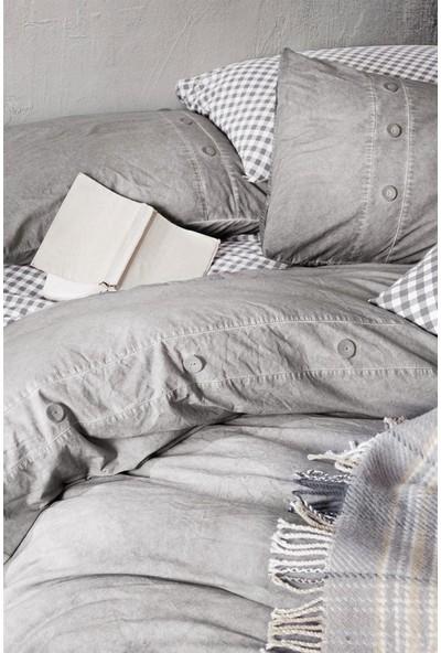 Cotton Box Denim Battaniyeli Çift Kişilik Nevresim Takimi Gri