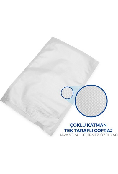 İstanbul Ticaret Vakum Makinelerine Uyumlu Tırtıklı (Gofrajlı) Vakum Poşeti 20 x 26 12 Adet