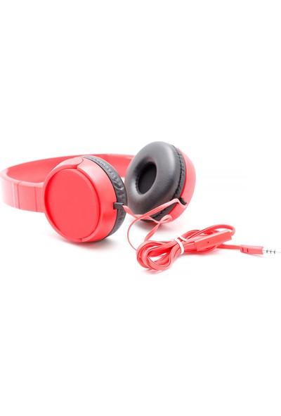 Dost J-08 Kablolu Mikrofonlu Kulak Üstü Kulaklık Super Bass Kırmızı