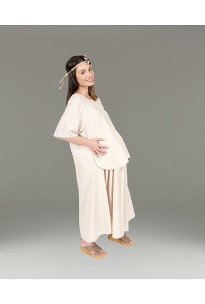 Hubla Design Bej Pötikare Doğum Elbisesi