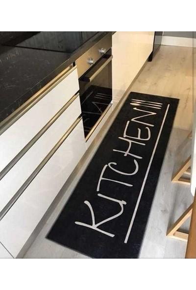 Alaturka Mutfak Desen Kaymaz Taban Siyah Beyaz Halı Kitchen 80 x 150 cm