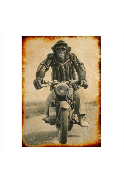 Tablomega Ahşap Tablo Motorcu Maymun