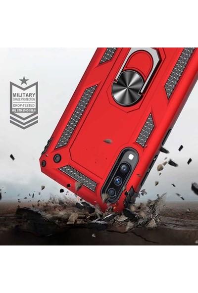 Ehr. One Plus 7 Pro Çift Katmanlı Yüzüklü Standlı Manyetik Doom Kılıf Kılıf Siyah