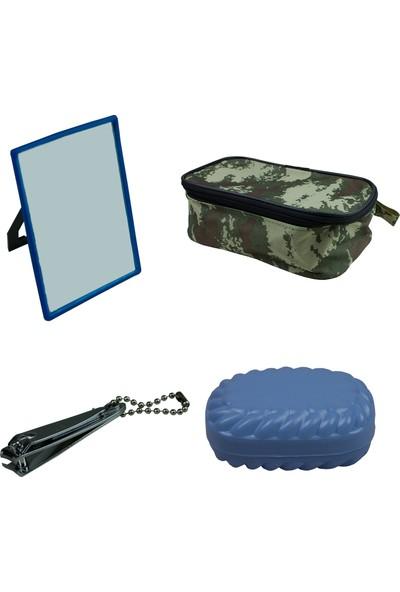 Bora Asker Malzemeleri 4 Lü Traş Çantası Ayna Sabunluk Tırnak Makası