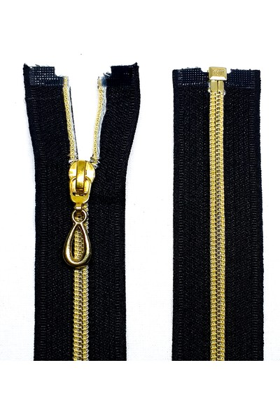 Koza Siyah Ferace Fermuarı - Gold Dişli