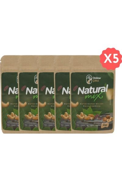 Online Çiftçi Natural Mix Karışık Sağlıklı Atıştırmalık Kuruyemişler 50 gr x 5 Paket (250 gr)