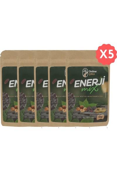 Online Çiftçi Enerji Mix Karışık Sağlıklı Atıştırmalık Kuruyemişler 50 gr x 5 Paket (250 gr)