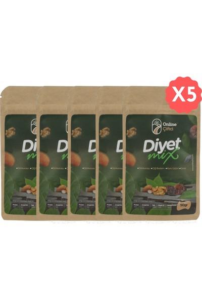Online Çiftçi Diyet Mix Karışık Sağlıklı Atıştırmalık Kuruyemişler 50 gr x 5 Paket (250 gr)