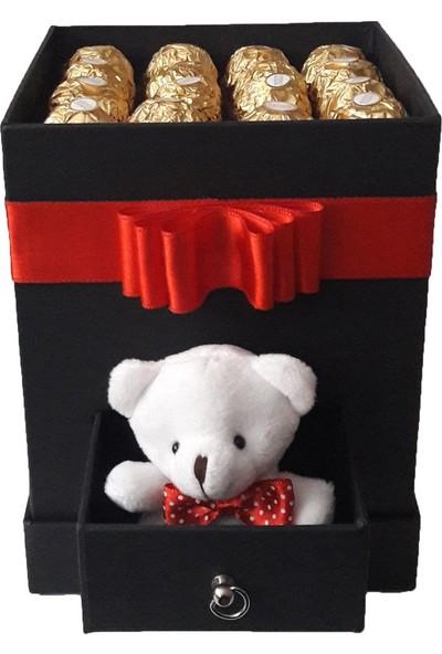 GiftiGifti Tasarım Kutuda Enfes Çikolatalar ve Sevimli Ayıcık 200 gr
