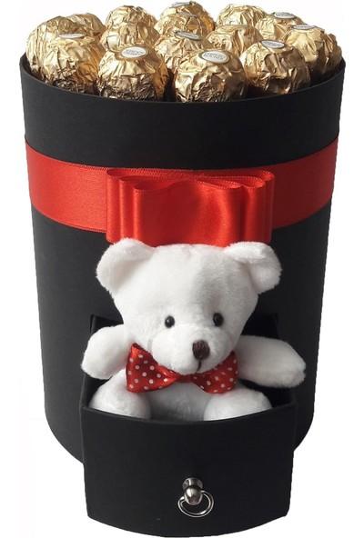 GiftiGifti Tasarım Kutuda Enfes Çikolatalar ve Sevimli Ayıcık 175 gr