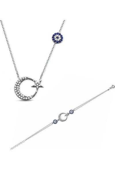 Pigado Zirkon Taşlı Nazar Boncuklu Ayyıldız Kolye Bileklik Seti 925 Ayar Gümüş