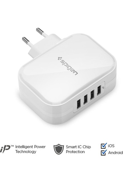 Spigen Essential 34W Hızlı Şarj Cihazı 4 Port USB (5V 6.8A) iP (Intelligent Power Technology) Duvar Şarjı F401 - 000AD23963