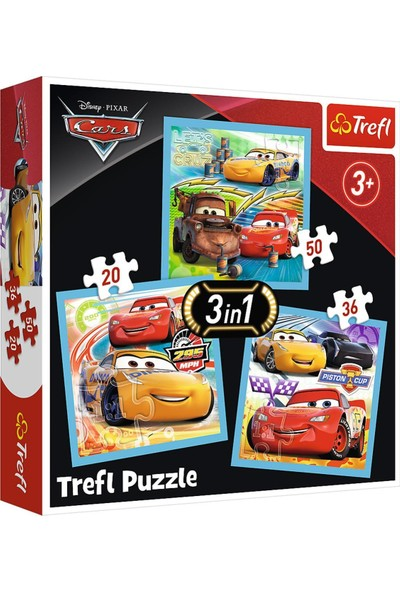 Trefl Puzzle Preparations For The Race Disney Car 3 3 In 1 Puzzle (20+36+50 Parça)
