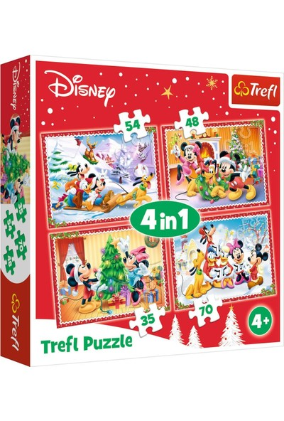 Trefl Puzzle Christmas Time Disney Standard Characters 4 In 1 Puzzle (35+48+54+70 Parça)