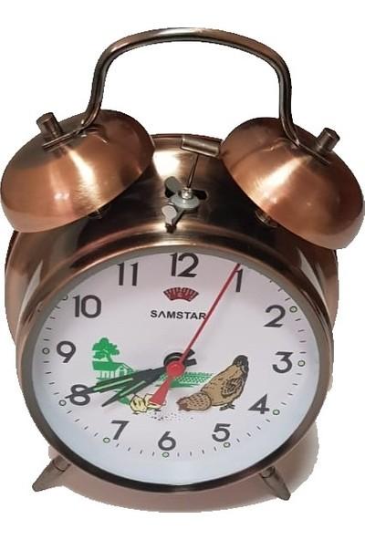 Samstar Nostaljik Kurmalı Tavuklu Guguklu Köstebek Çalar Metal Masa Saati Bakır