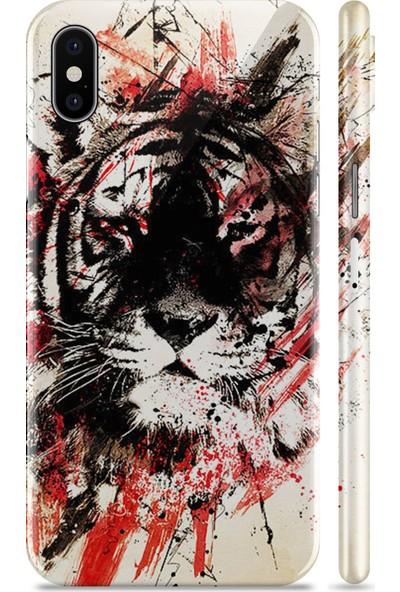 Renkli Garaj Apple iPhone X Black Tiger Telefon Kaplaması