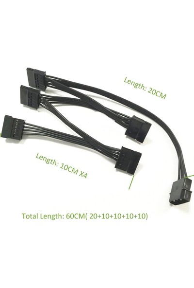 Alfais 4355 Molex IDE 4 Pin To 5 Port Sata Power HDD Güç Çoklayıcı Kablosu 60 cm