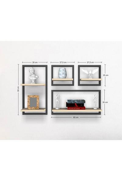 Bsign 4'lü Set Dekoratif Raf Dikdörtgen Raflar Duvara Monte Duvar Rafı