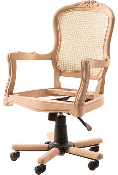 Obuts Home 611 Hasırlı Oymalı Dönerli Sandalye Cilasız Ahşap Ham