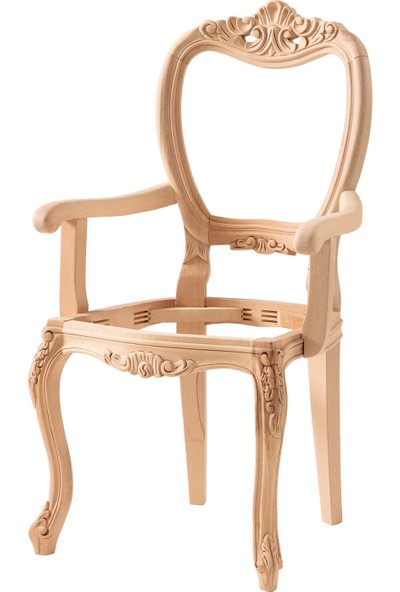 Obuts Home 620 Gold Kollu Sandalye Cilasız Ahşap Ham