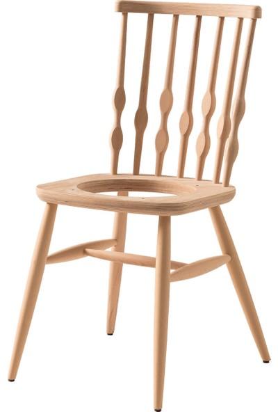Obuts Home 698 Damla Döşemeli Sandalye Cilasız Ahşap Ham