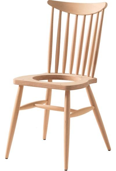 Obuts Home 700 Yıldız Döşemeli Sandalye Cilasız Ahşap Ham