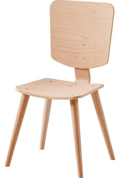 Obuts Home 710 Retro Kare Sandalye Cilasız Ahşap Ham