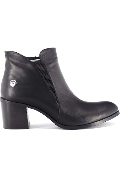 Mammamia D19KB-4150 Kadın Deri Topuklu Bot Siyah