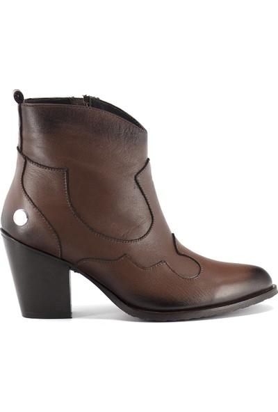 Mammamia D19KB-5300 Kadın Deri Topuklu Bot Kahverengi Koyu
