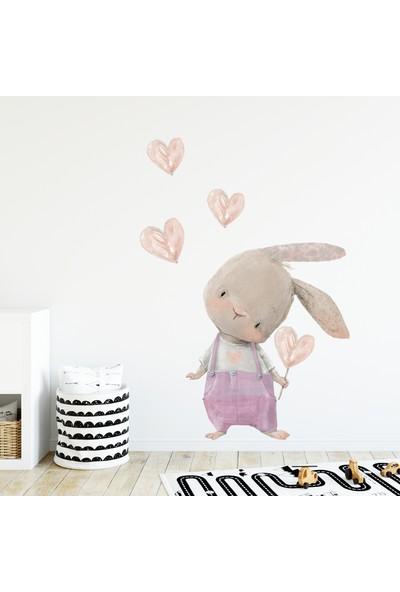 Sim Tasarım Pembe Tulumlu Kalpli Tavşan Duvar Sticker Set