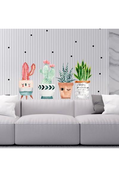 Sim Tasarım Saksıda Kaktüsler Duvar Sticker Seti