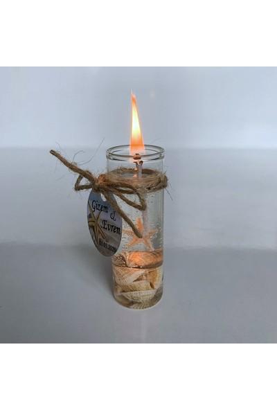 Antrasit Organizasyon Deniz Kabuklu Jel Mum Nikah Nişan Söz Bebek Şekeri Hediyelik Antrasit Organizasyon (10 Adet)