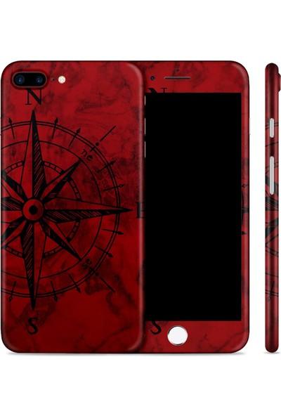 Renkli Garaj iPhone 8 Plus Red Compass Telefon Kaplaması