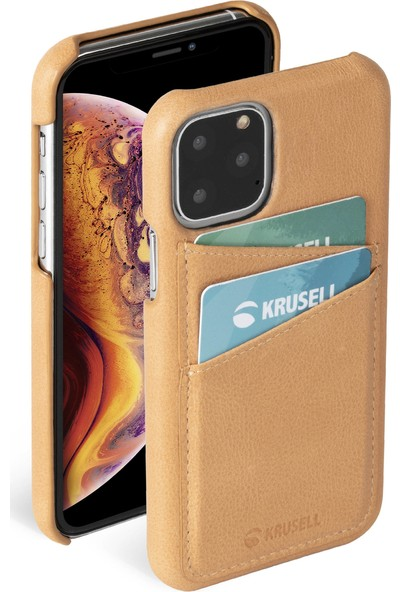 Krusell Deri Cardcover Apple iPhone 11 Pro Kılıf Bej
