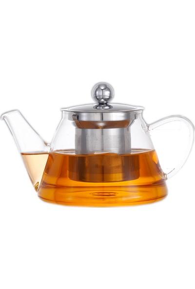 Epinox V Model Süzgeçli Cam Demlik Tea Pot 500 ml