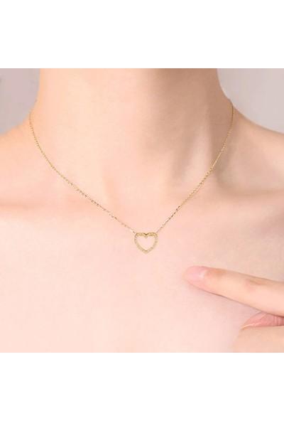 VipBT Taşlı Kalp Kolye Altın Sarısı
