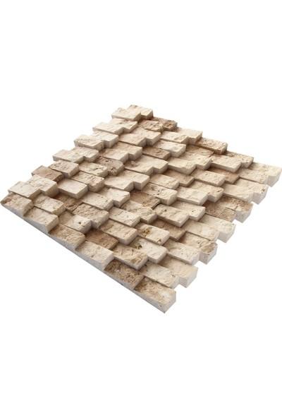 Doğal Dekor Yalıbaskı 23X48MM Klasik Traverten Noçe Mix Doğal Taş Patlatma Taş Kaplama Duvar Dekorasyonu