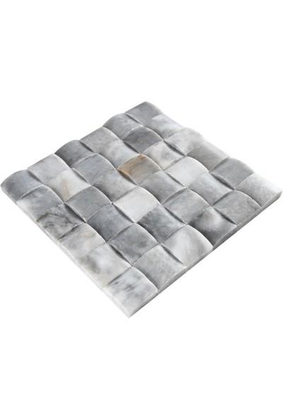Doğal Dekor Rıddım 5X5CM Dekoratif Mermer Doğal Taş Hasır Duvar Kaplama Fileli Mozaik